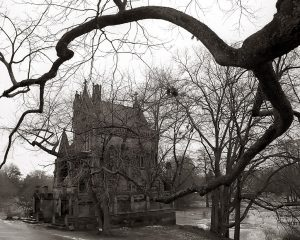 A black-and-white photograph of tree branches framing Spring Grove, Cemetery, one of the most haunted places in Cincinnati, said to be haunted by hellhounds.